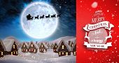 Snow falling against santa delivery presents to village