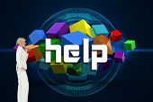 The word help and thinking businesswoman against futuristic glowing black background