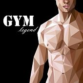 illustration with caucasian or asian man muscle body in low polygonal style.