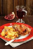 Grilled Turkey With Mashed Potatoes, Pomegranate And Glass Of Wine