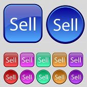 Sell Sign Icon. Set Of Colored Buttons. Vector