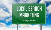 Local Search Marketing on Green Highway Signpost.