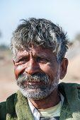 Closeup Of Rajasthan Man Without A Turban.