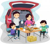 Illustration of a Family Having a Picnic at the Back of Their Car