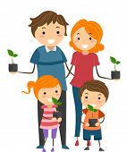 Illustration of Parents and Their Kids Holding Seedlings to Plant in Their Garden