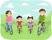 Illustration of a Family Taking a Stroll in the Park in Their Bicycles