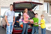 pic of road trip  - Smiling happy family and a family car - JPG