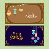 pic of ramadan calligraphy  - Beautiful website header or banner set decorated with lamps and Arabic Islamic calligraphy of text Ramazan Kareem  - JPG
