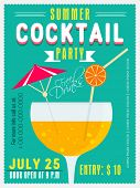 stock photo of cocktail menu  - Vintage invitation card design for Summer Cocktail Party with date and time details - JPG