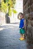 stock photo of boy girl shadow  - little boy in the coastal - JPG