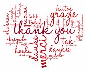 stock photo of thankful  - Heart shaped Thank You international word cloud on a white background - JPG