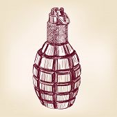 picture of grenades  - grenade hand drawn vector llustration realistic sketch - JPG