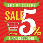 stock photo of year end sale  - Shopping Cart With 5 Percent End of Season Sale Illustration - JPG