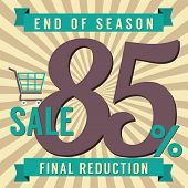 foto of year end sale  - Shopping Cart With 85 Percent End of Season Sale Illustration - JPG