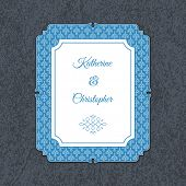 stock photo of ampersand  - Letterpress wedding invitation card template with floral ornaments and custom ampersand - JPG