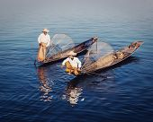 stock photo of fishermen  - Myanmar travel attraction  - JPG