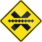 stock photo of railroad-sign  - Warning road sign in Chile - JPG