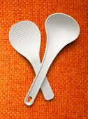 stock photo of ladle  - White spatula and ladle on the cloth background - JPG