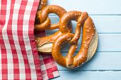 pic of pretzels  - baked pretzels on kitchen table - JPG