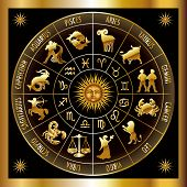 stock photo of zodiac sign  - Circle with signs of zodiac - JPG