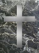 pic of condolence  - silver cross inlay in black marble plate - JPG