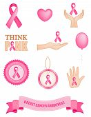 image of mammogram  - Pink breast cancer awareness icon collection with 10 different cancer related cliparts isolated on white background - JPG