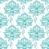 picture of leafy  - Seamless persian outline blue flowers on winding leafy stalks pattern with feathery lush petals on white background for wallpaper or textile design - JPG