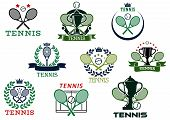 stock photo of trophy  - Tennis competition emblems or icons depicting tennis balls - JPG