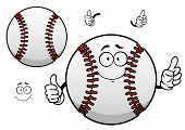 picture of stitches  - Happy cartoon white baseball ball character with raised red stitches showing thumb up gesture for sporting mascot or tournament design - JPG