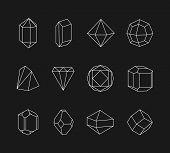 stock photo of symmetrical  - Set of line geometric shapes for logo - JPG