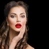 foto of lip  - Retro woman portrait isolated on black background - JPG