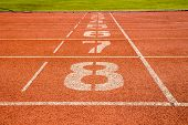 pic of 8-track  - running track with number at finish point - JPG