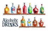 picture of alcoholic beverage  - alcoholic beverages on a white background - JPG
