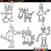 image of robot  - Coloring Book Cartoon Illustration of Funny Fantasy Robots Characters Set - JPG