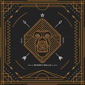 picture of monkeys  - Vintage thin line monkey label - JPG