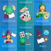 stock photo of divine  - Fortune teller mini poster set with witchcraft magic prediction and divination promo isolated vector illustration - JPG