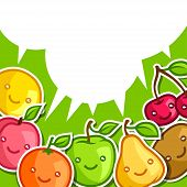 pic of kawaii  - Background with cute kawaii smiling fruits stickers - JPG