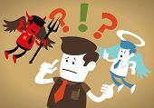 picture of angel devil  - Great illustration of Retro styled Corporate Guy caught up in a Catch - JPG