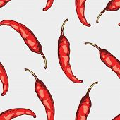 pic of jalapeno peppers  - Seamless pattern with hand drawn spicy chili peppers in vector - JPG
