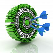 image of environmental conservation  - 3d render of a target formed by words related to environmental conservation - JPG