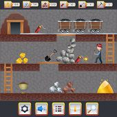 image of asset  - Mining game treasure hunt interface with assets signs and miner vector illustration - JPG