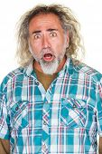 picture of long beard  - Startled middle aged man with beard and long hair - JPG