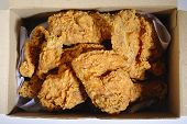 stock photo of fried chicken  - Fried chicken in delivery box on background - JPG