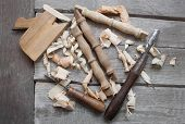 foto of chisel  - Wooden rusty carpenter chisels - JPG