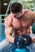 stock photo of strength  - Strength training with dumbbells - JPG