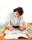picture of loafers  - Student listen the Music with the Books on the White Background - JPG
