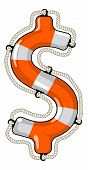 picture of economy  - vector lifebuoy in the shape of a dollar sign is a symbol of economy saving by investment fund to provide economy growth - JPG