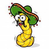 stock photo of worm  - Vector illustration of  a cartoon tequila worm wearing a sombrero - JPG
