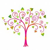stock photo of cutting trees  - Vector love tree in cartoon paper cut style - JPG