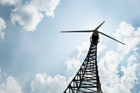 stock photo of wind vanes  - The wind turbine generator the renewable energy - JPG